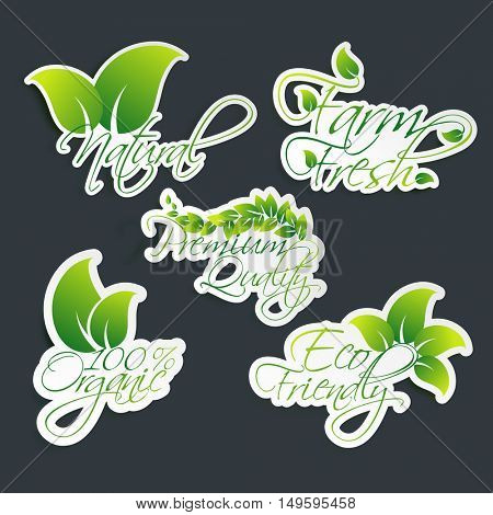 100% Organic Products stickers, Natural or Eco Friendly Products labels or tag design on grey background.