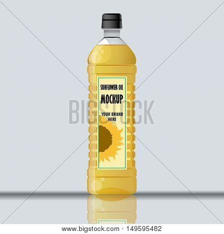 Digital vector yellow sunflower oil plastic bottle mockup, ready for your logo and design, flat style