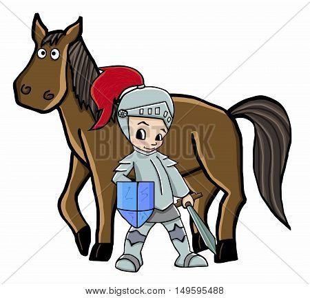 horse and knight vector illustration cartoon animal