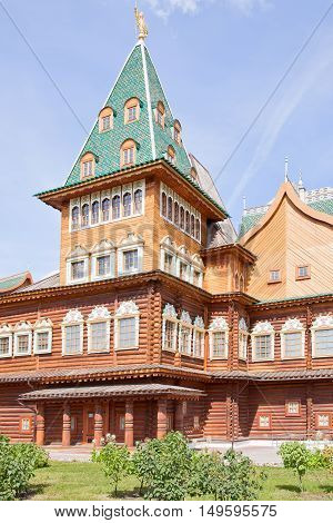MOSCOW RUSSIA - August 18.2013: Restored ancient palace of Tsar Alexei Mikhailovich Romanov is in Kolomenskoye