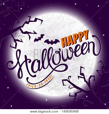 Happy Halloween! Greeting card with lettering. Vector background.