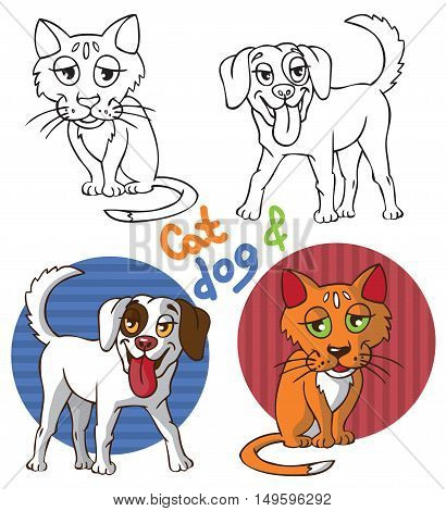 illustration on a white background in the circle with the image of Pets: ginger cat and white dog