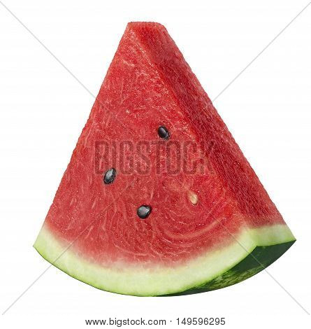 Single watermelon triangular slice isolated on white background as package design element