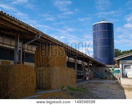 Modern Farm grain silo agriculture production image