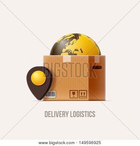 brown package box map pin earth realistic 3d icon isolated on white
