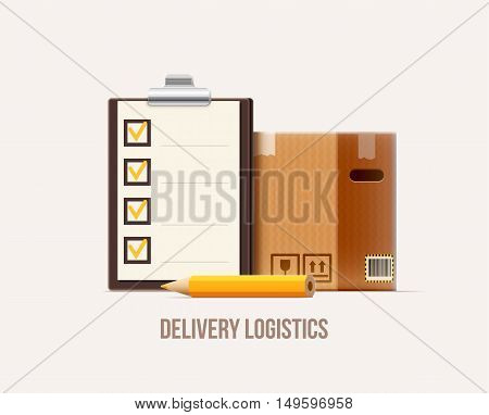 vector illustration of brown package box check list pencil realistic 3d icon isolated on white