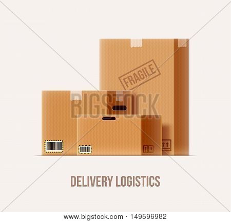 vector illustration of brown package box set realistic 3d icon isolated on white