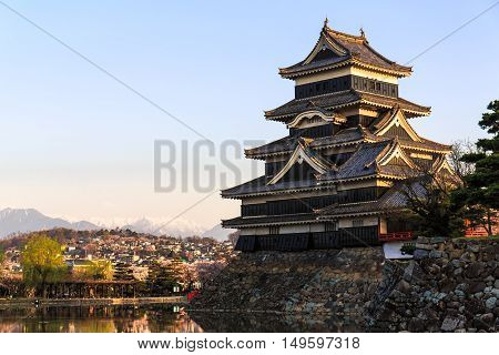 Matsumoto Castle With Warm Light In Morning