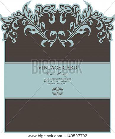 Invitation or vintage greeting floral card. Background. Vector illustration