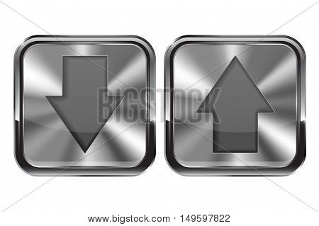 Metal buttons. UP and DOWN buttons with chrome frame. Vector illustration isolated on white background