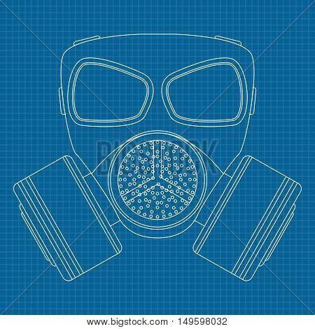 Gas mask. Drawing outline. Vector illustration on blueprint background