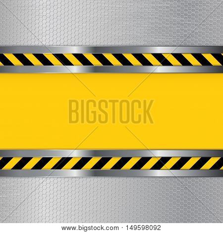Under construction background. Metal perforated texture with yellow striped plate. Vector illustration