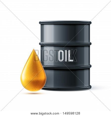 vector illustration of black oil barrel with oil drop isolated on white realistic objects with shadows