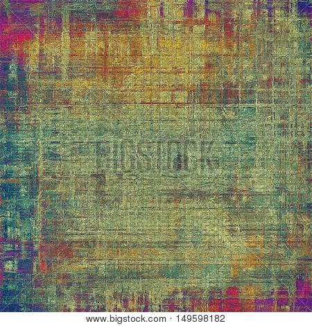 Old-style dirty background with textured vintage elements and different color patterns: yellow (beige); brown; blue; red (orange); purple (violet)