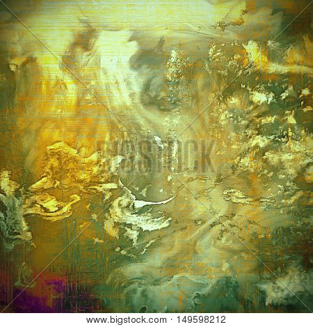 Retro design on grunge background or aged faded texture. With different color patterns: yellow (beige); brown; gray; green; purple (violet)