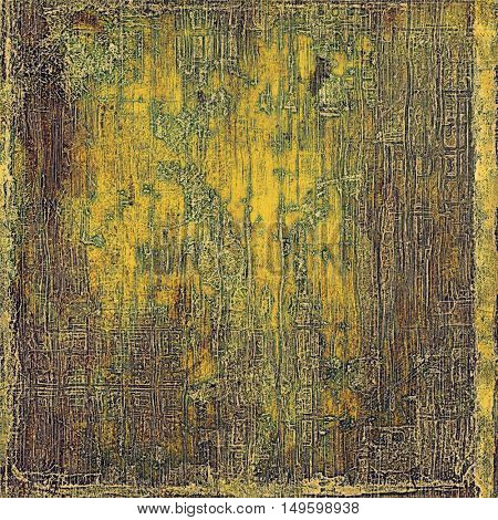 Grunge background with delicate aged texture. Antique backdrop with retro vintage elements and different color patterns: yellow (beige); brown; gray; green