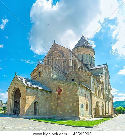 The early medieval stone Basilica of Svetitskhoveli Cathedral located in the center of Holy City of Mtskheta the old capital of Georgia.
