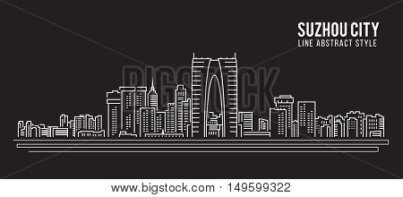 Cityscape Building Line art Vector Illustration design - Suzhou city