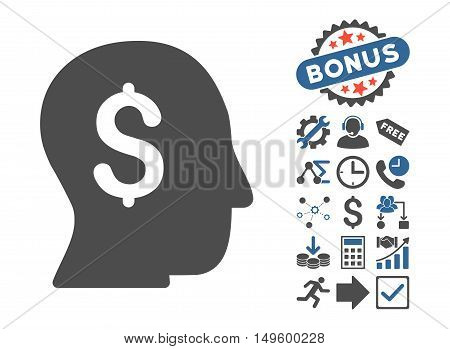 Businessman icon with bonus icon set. Glyph illustration style is flat iconic bicolor symbols, cobalt and gray colors, white background.