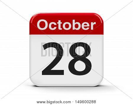 Calendar web button - The Twenty Eighth of October - International Animation Day three-dimensional rendering 3D illustration