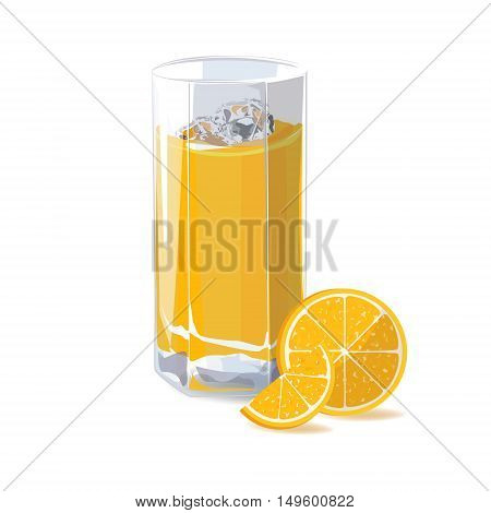 Orange juice. A glass of orange juice and ice and orange slice. Vector