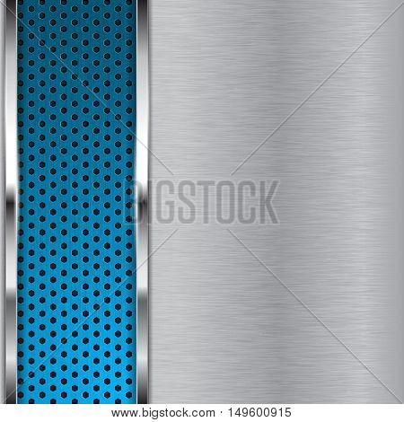 Metal brushed background with blue perforation. Vector illustration