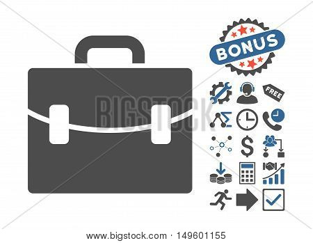 Case icon with bonus images. Glyph illustration style is flat iconic bicolor symbols, cobalt and gray colors, white background.