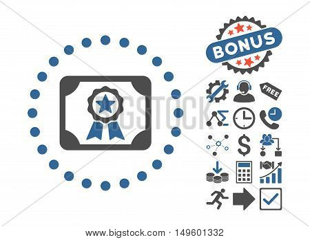 Certificate icon with bonus symbols. Glyph illustration style is flat iconic bicolor symbols, cobalt and gray colors, white background.