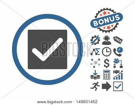 Check pictograph with bonus pictures. Glyph illustration style is flat iconic bicolor symbols, cobalt and gray colors, white background.