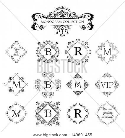Set of vector decorative frames for wedding invitation, birthday greeting card, vintage monogram, frames and vignette for menu card, restaurant, cafe, hotel, jewelry store and logo templates