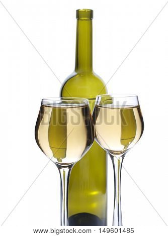 Green bottle of water and alcohol on white background