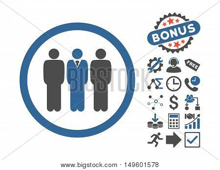 Clerk Staff pictograph with bonus pictograph collection. Glyph illustration style is flat iconic bicolor symbols, cobalt and gray colors, white background.