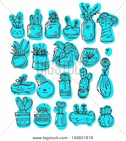 Cactus and succulent plants in pots. Illustration set of hand drawn cacti and succulents growing in cute little pots. Simple cartoon vector style. Icons set of succulent plants in black white and turquoise blue.