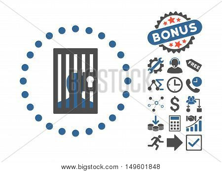 Closed Prisoner icon with bonus images. Glyph illustration style is flat iconic bicolor symbols, cobalt and gray colors, white background.