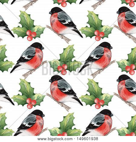 Christmas seamless pattern with snegirek 2. Handmade drawing. For registration of festive cards, wrapping paper, packaging