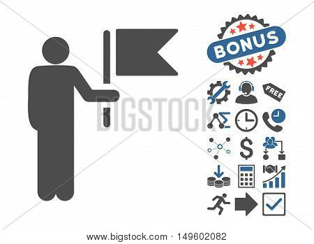 Commander With Flag pictograph with bonus pictograph collection. Glyph illustration style is flat iconic bicolor symbols, cobalt and gray colors, white background.