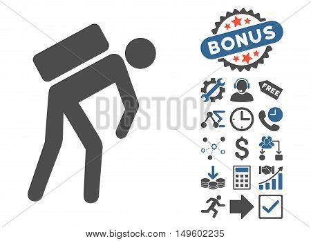 Courier pictograph with bonus pictograph collection. Glyph illustration style is flat iconic bicolor symbols, cobalt and gray colors, white background.
