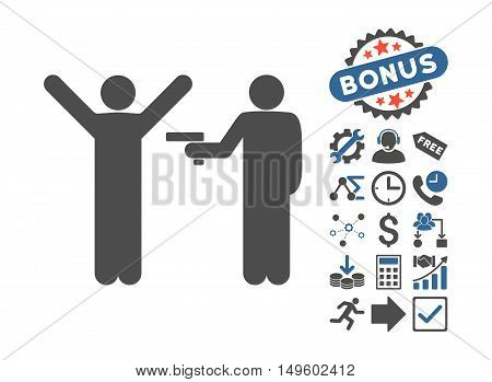 Crime Robbery icon with bonus pictures. Glyph illustration style is flat iconic bicolor symbols, cobalt and gray colors, white background.