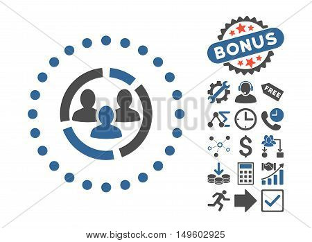 Demography Diagram icon with bonus images. Glyph illustration style is flat iconic bicolor symbols, cobalt and gray colors, white background.