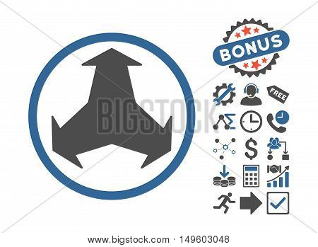 Directions icon with bonus pictures. Glyph illustration style is flat iconic bicolor symbols, cobalt and gray colors, white background.