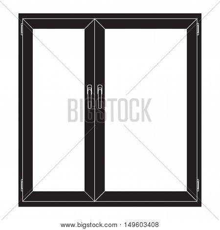 Window. Closed. Black outline icon. Vector illustration