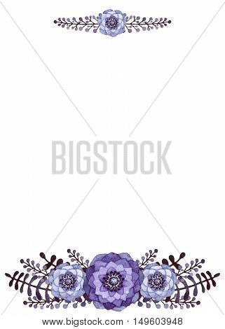 Frame with Watercolor Little Dark Leaves and Light Violet Flowers