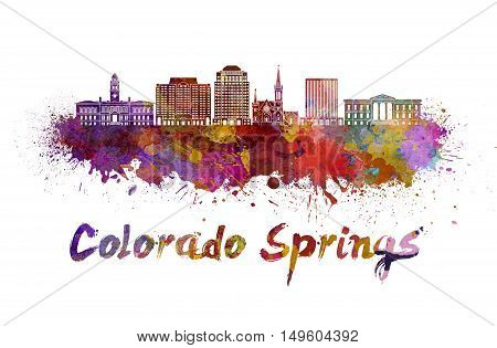 Colorado skyline in watercolor splatters with clipping path
