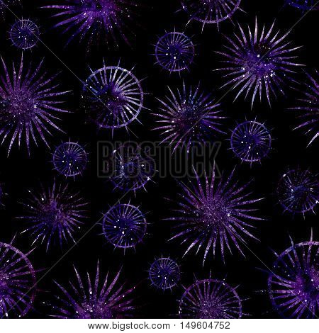 Seamless Pattern with Watercolor Abstract Stars and Bright Galaxy on Dark Background