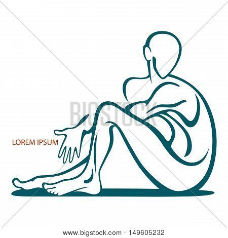 Stylized figure of a man in a sitting posture. Logo and emblem human with space for text. Stock vector.