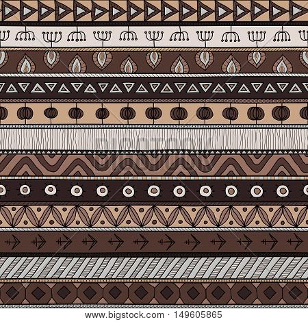 Tribal multicolor seamless pattern. indian or african ethnic patchwork style. Vector image for textile decorative background wrapping paper. Coffee and chocolate colors