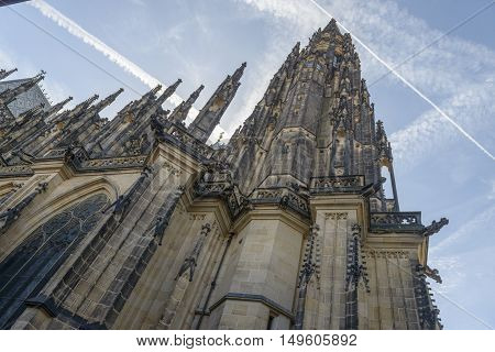 gargoyles and towers of St. Vitus Cathedral Cathedral of Saints Vitus Wenceslaus and Adalbert in Prague Czech Republic.
