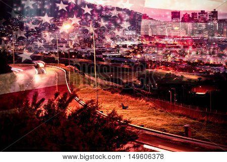 Colourful fireworks exploding on black background against united states of america flag