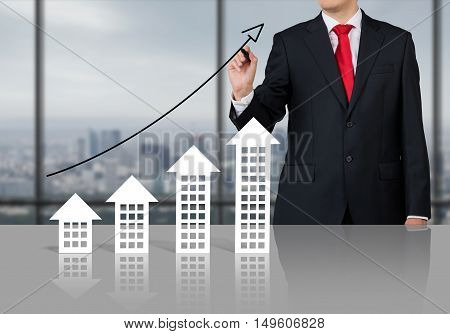 Businessman and real estate market growing. Meeting room.