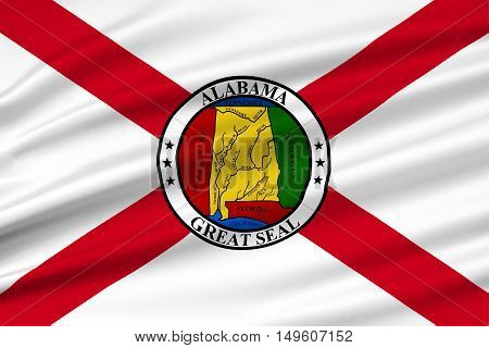 Flag of Alabama is a state of the United States. 3D illustration